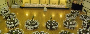 Solders & Sailors Ballroom Setup - Brown Floor Length Linens with White Napkins